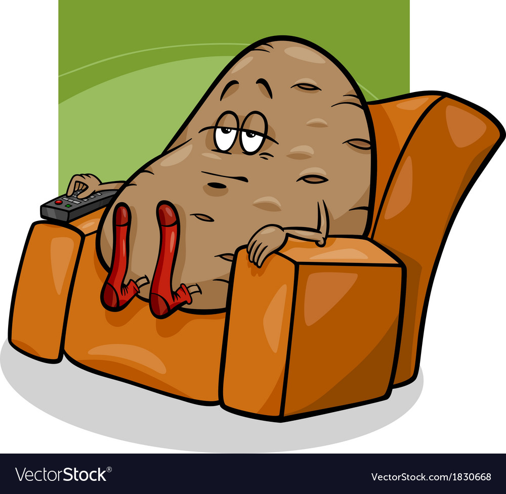 Couch Potato Saying Cartoon Royalty Free Vector Image
