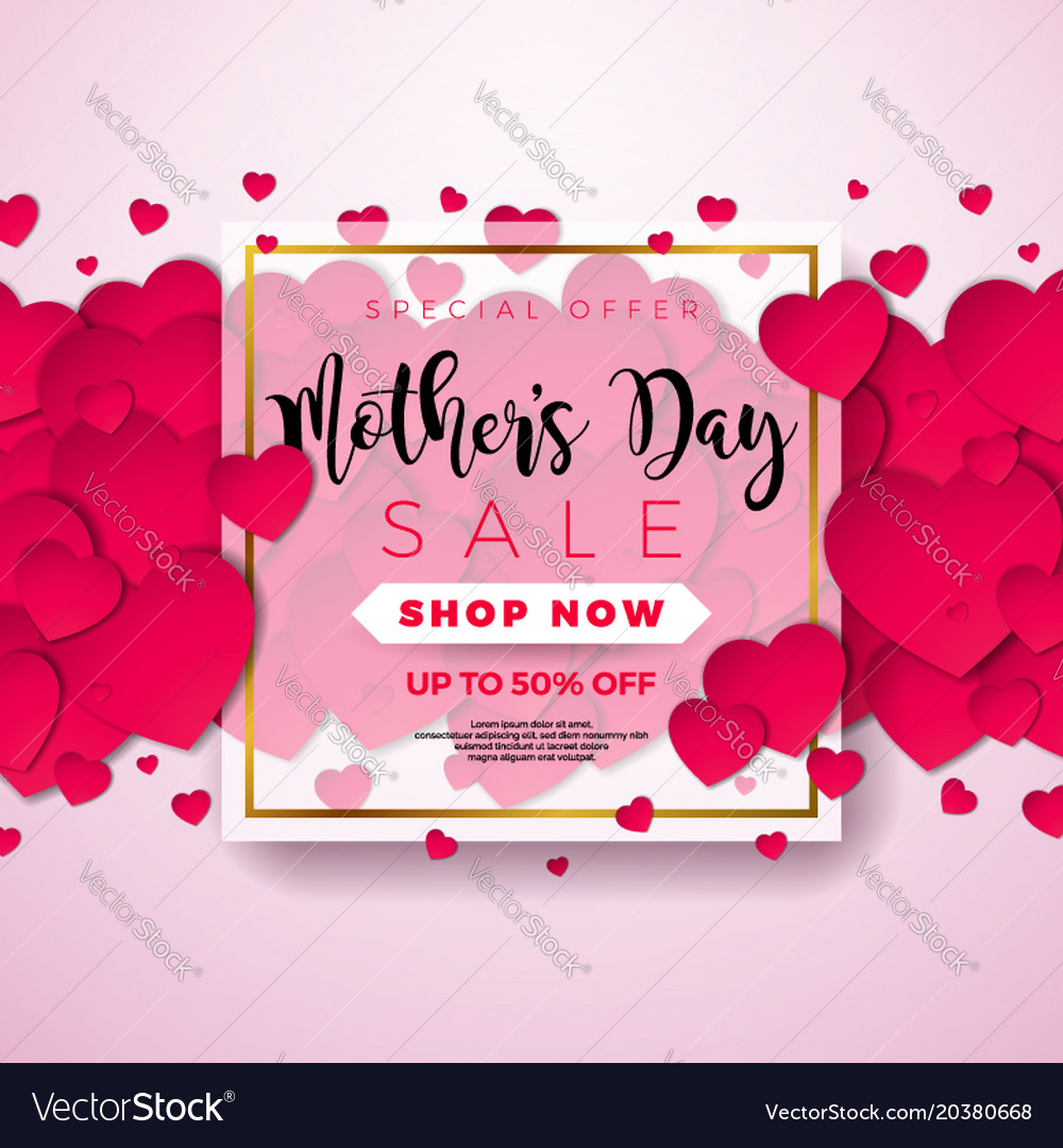 Happy Mothers Day Greeting Card With Hearth On Vector Image On Vectorstock