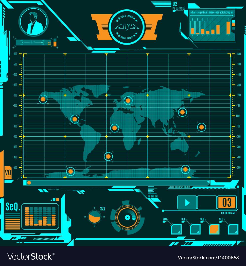 Hud navigation map screen elements