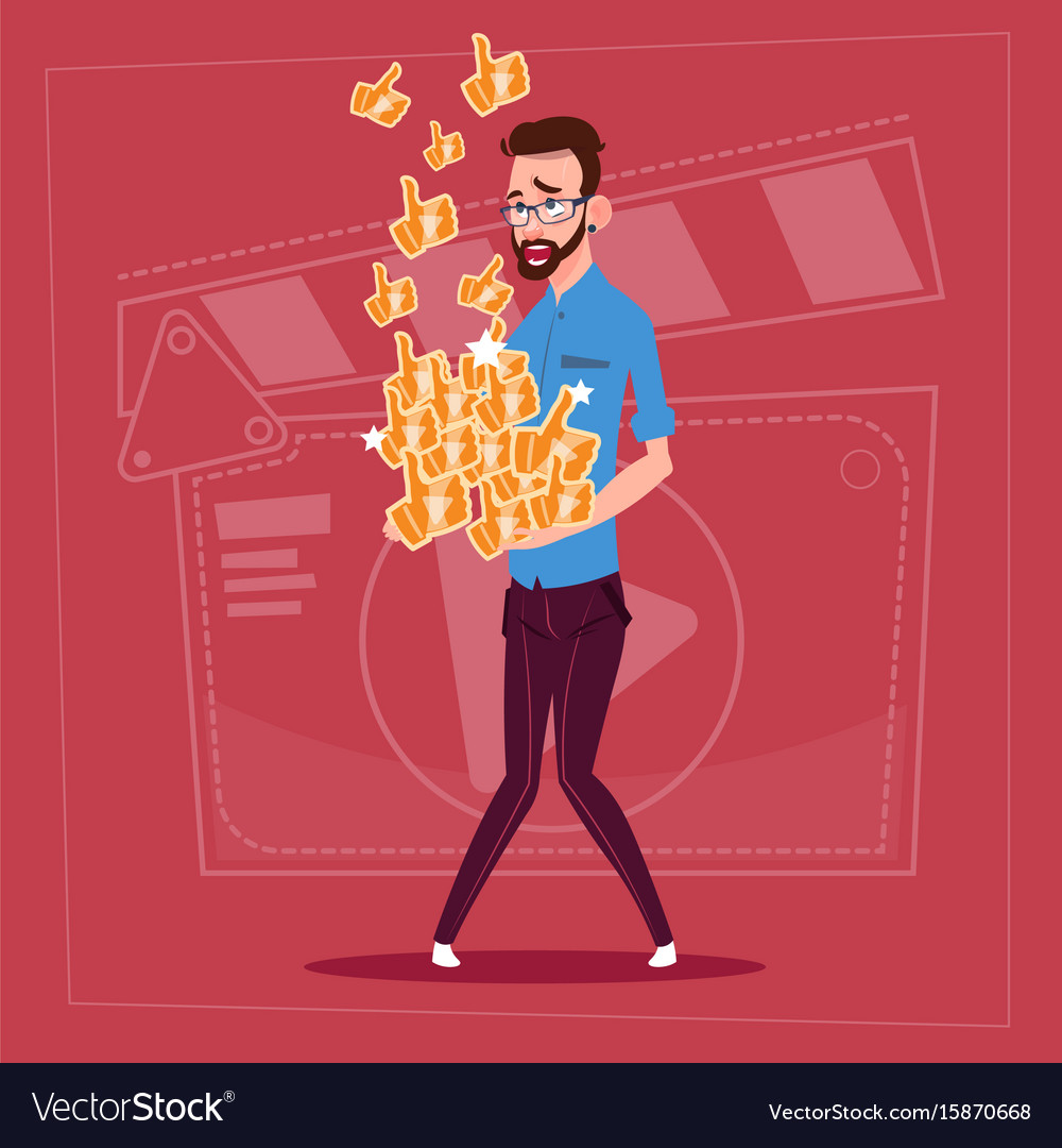 Man hold thumb up modern video blogger vlog vector image