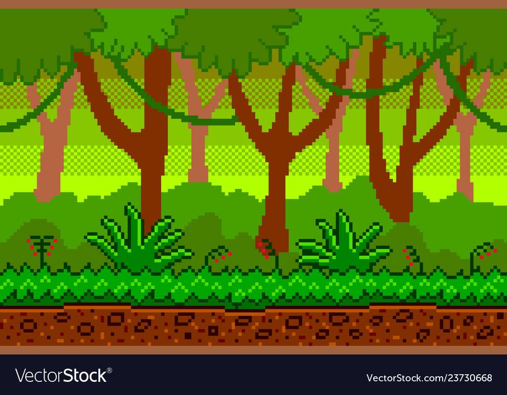 Pixel art jungle seamless background detailed