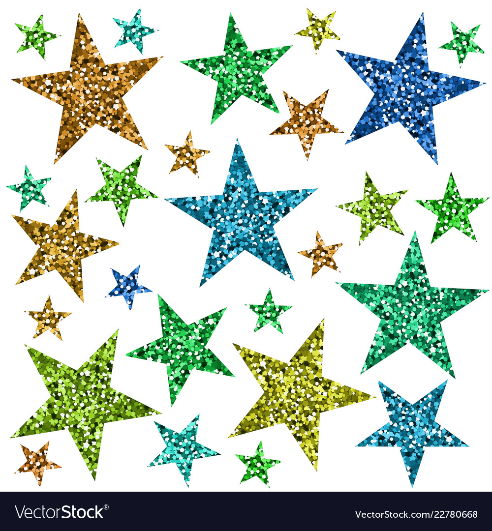 Red green blue and yellow stars