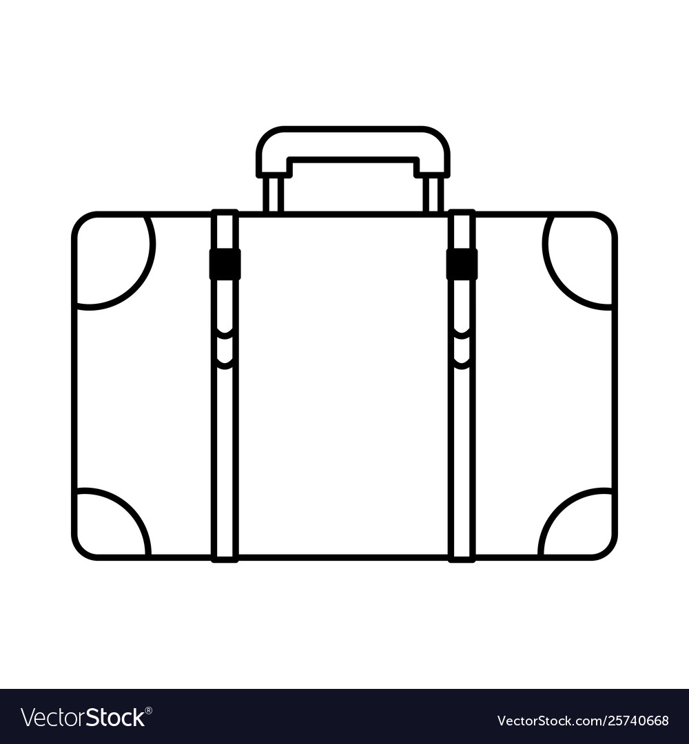 Travel vintage suitcase cartoon in black and white