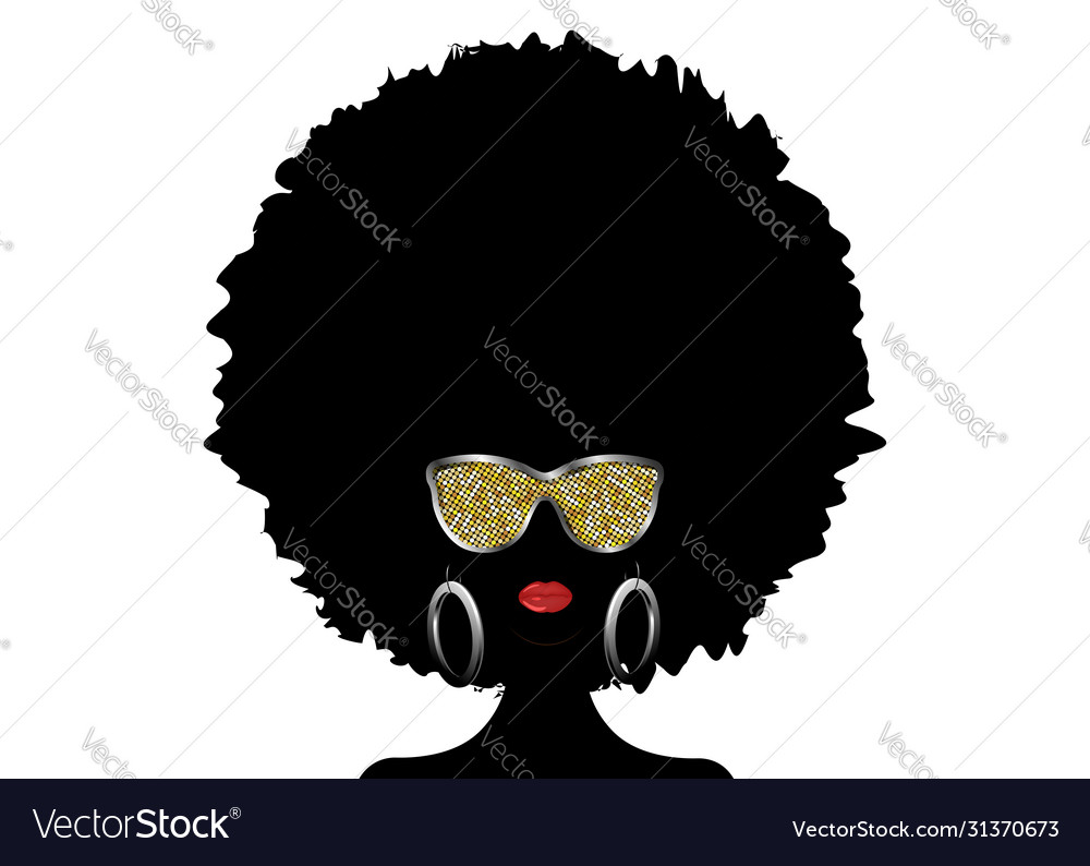 African woman afro curly hair and gold sunglasses