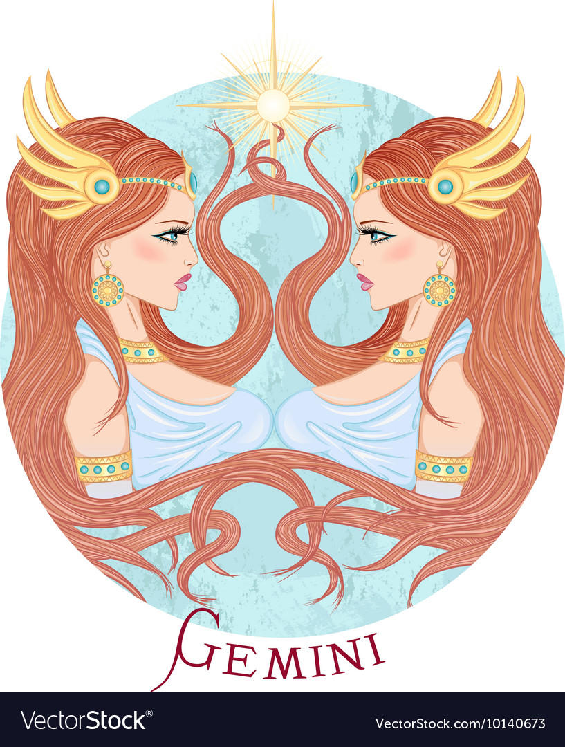 Astrological sign of Gemini as a beautiful girl vector image