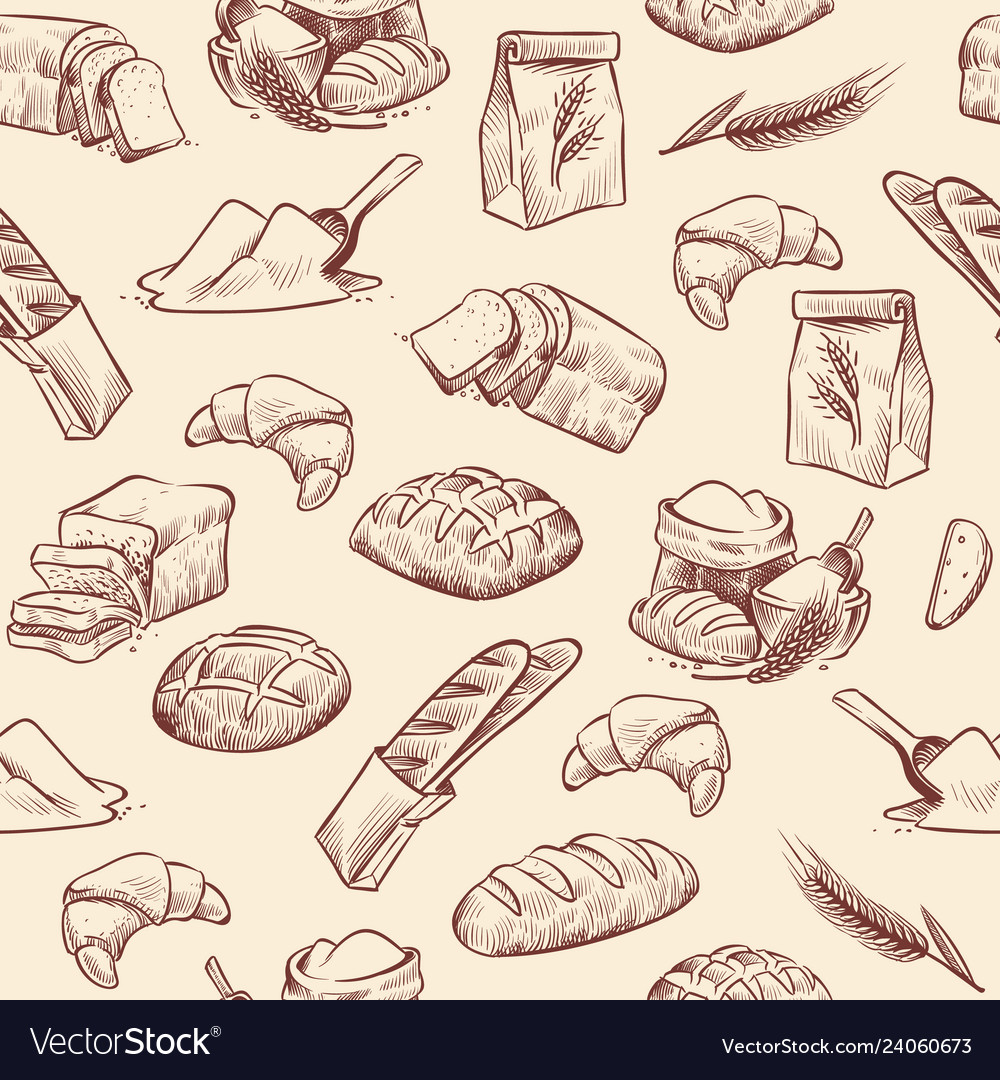 Bakery seamless pattern bread croissant pastries
