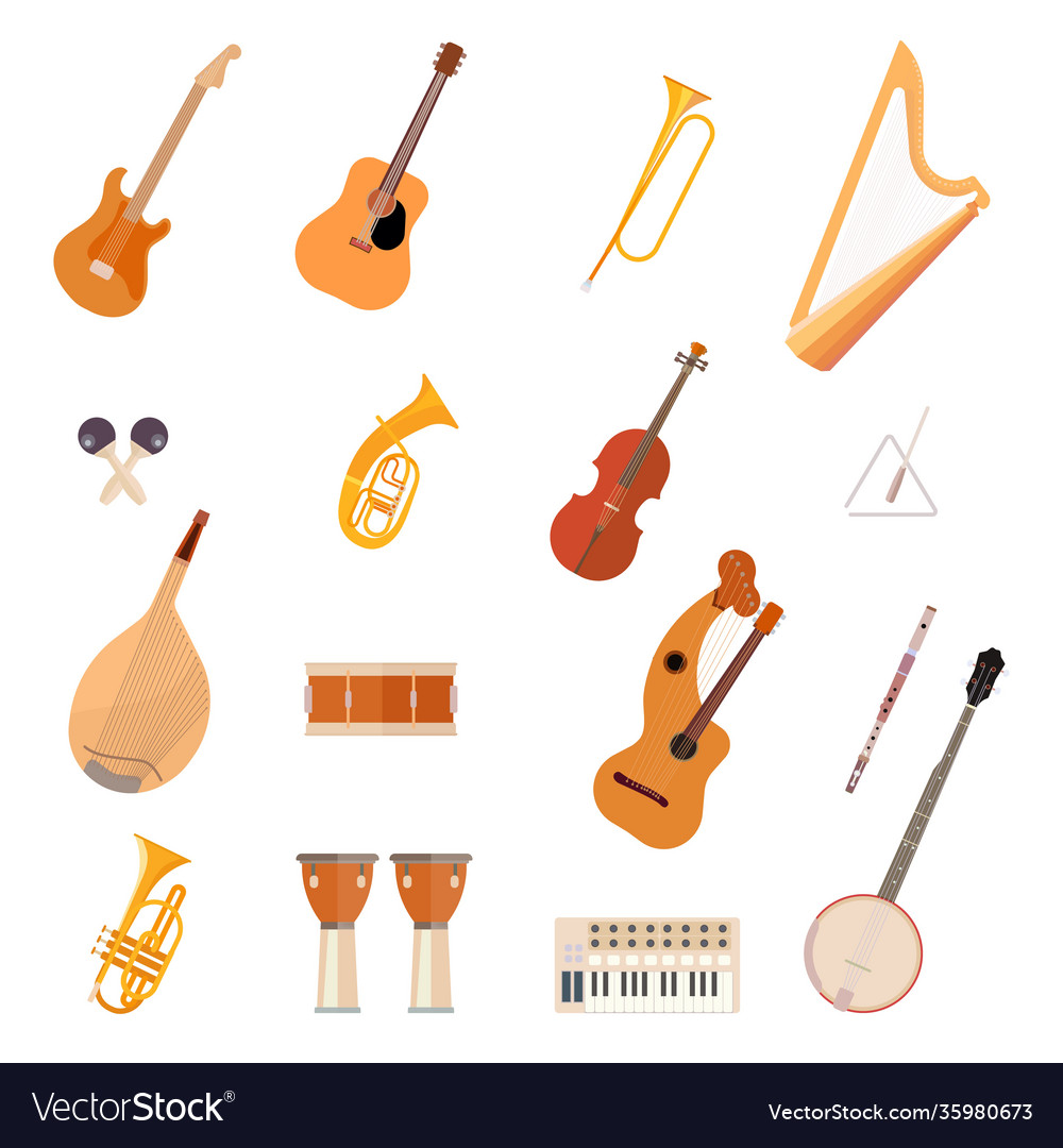 Big collection music instruments