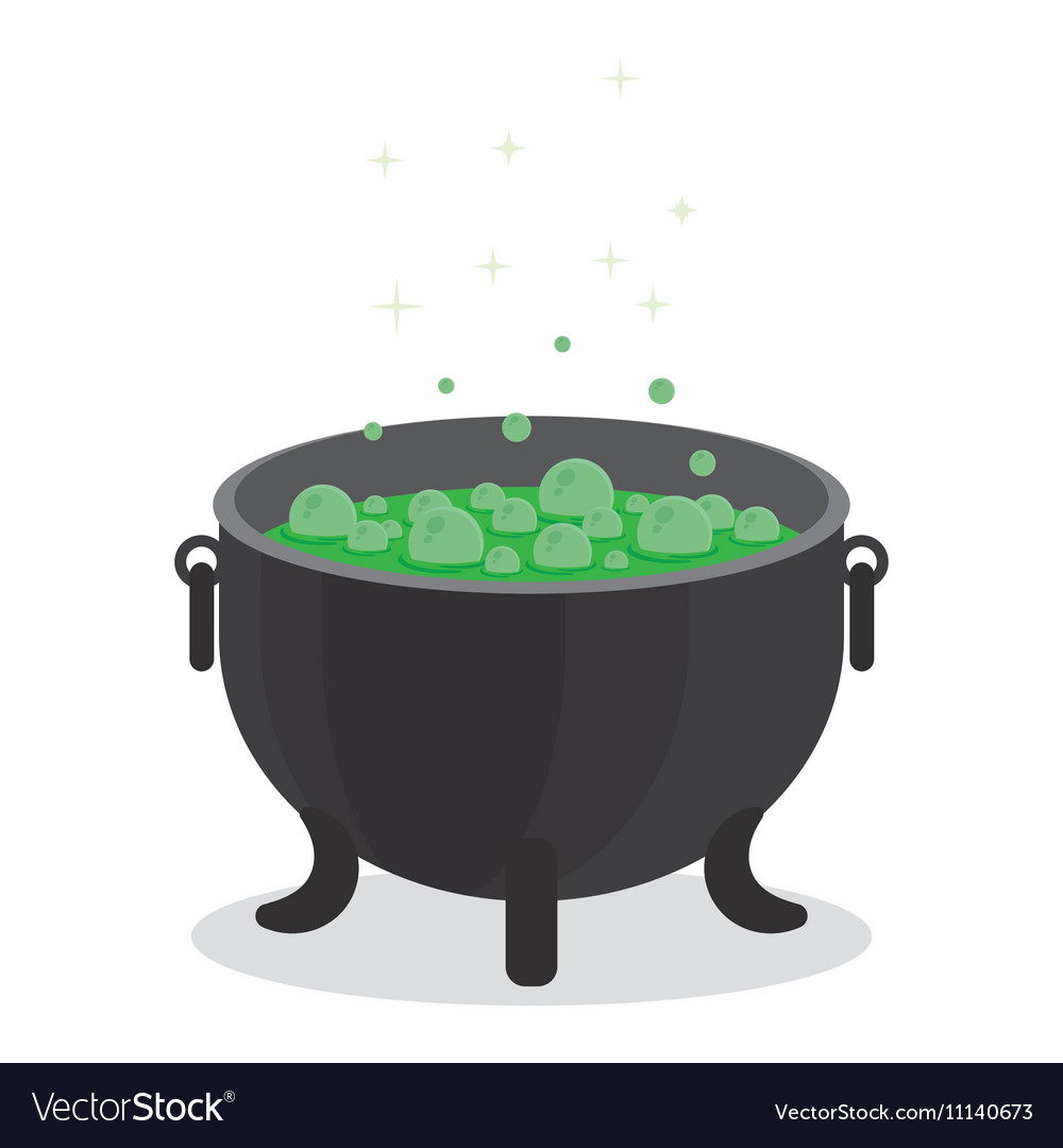 Cauldron boiling green liquid vector