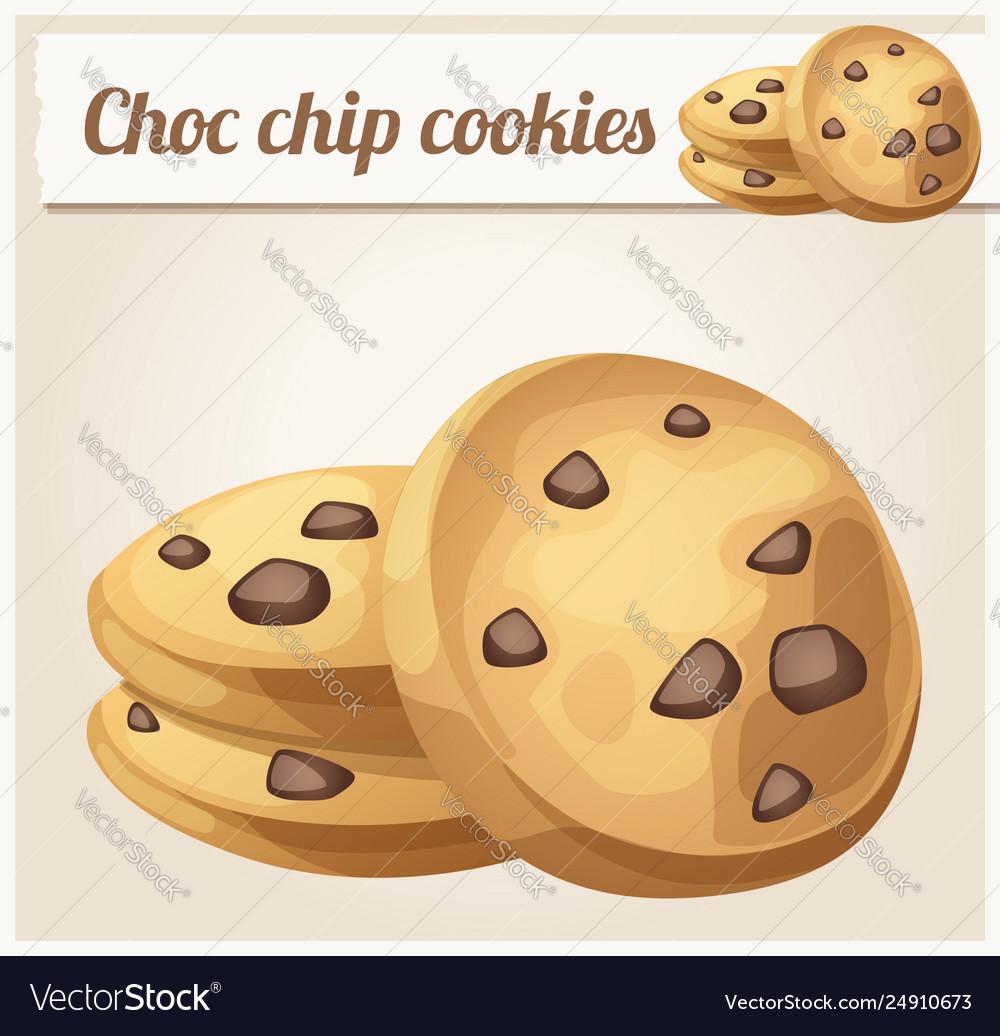 Choc chip cookie icon cartoon
