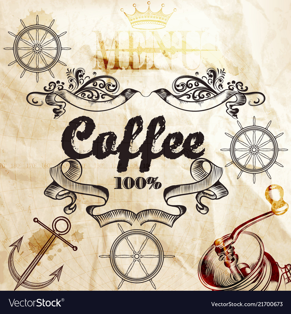 Coffee background on a old paper texture with map