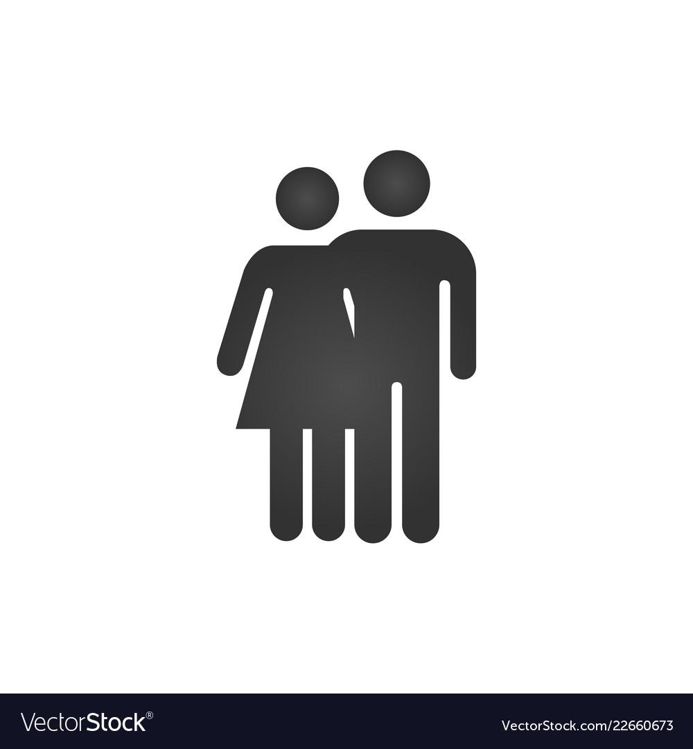 Couple hug icon happy valentine day love isolated