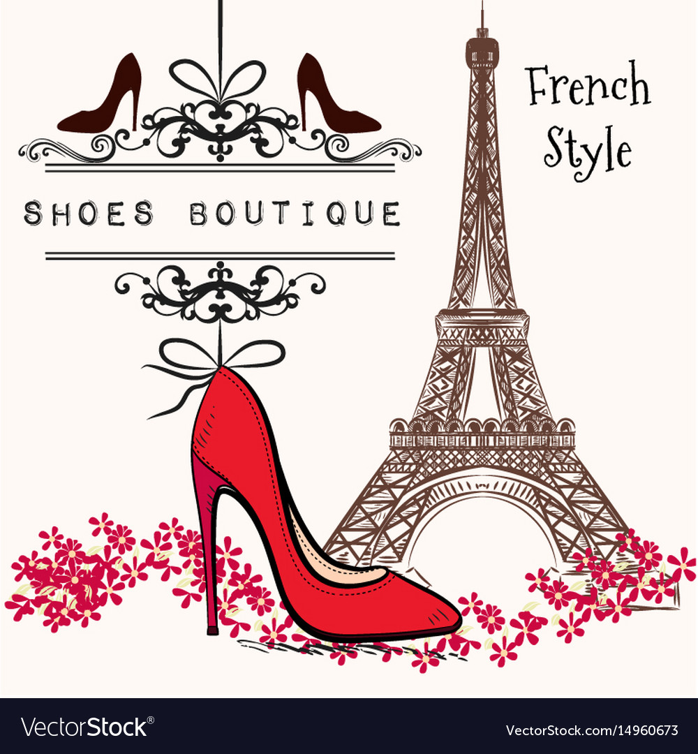 Cute shoes boutique red shoe hang on a banner