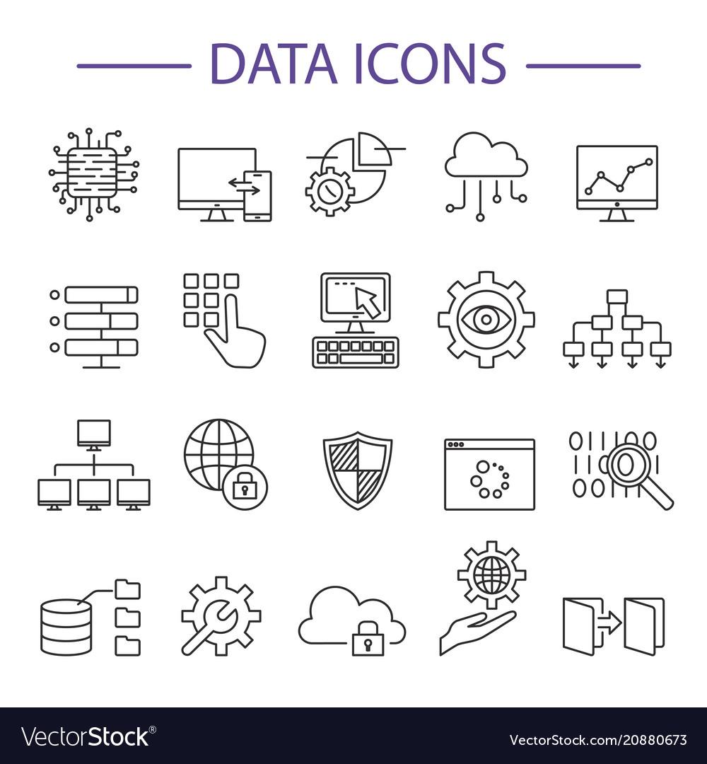 Data icons line set
