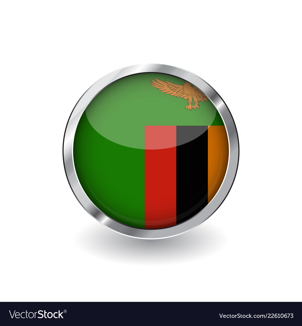 085782acb674 Flag of zambia button with metal frame and shadow Vector Image