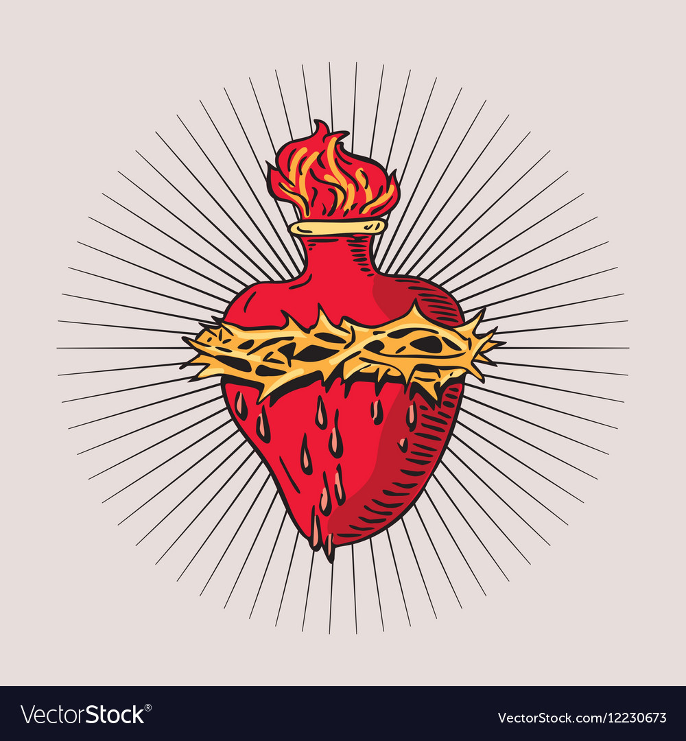 Heart Of Blessed Virgin Mary Tattoo Royalty Free Vector