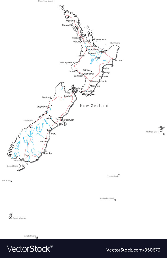 Download New Zealand Map.New Zealand Black And White Map