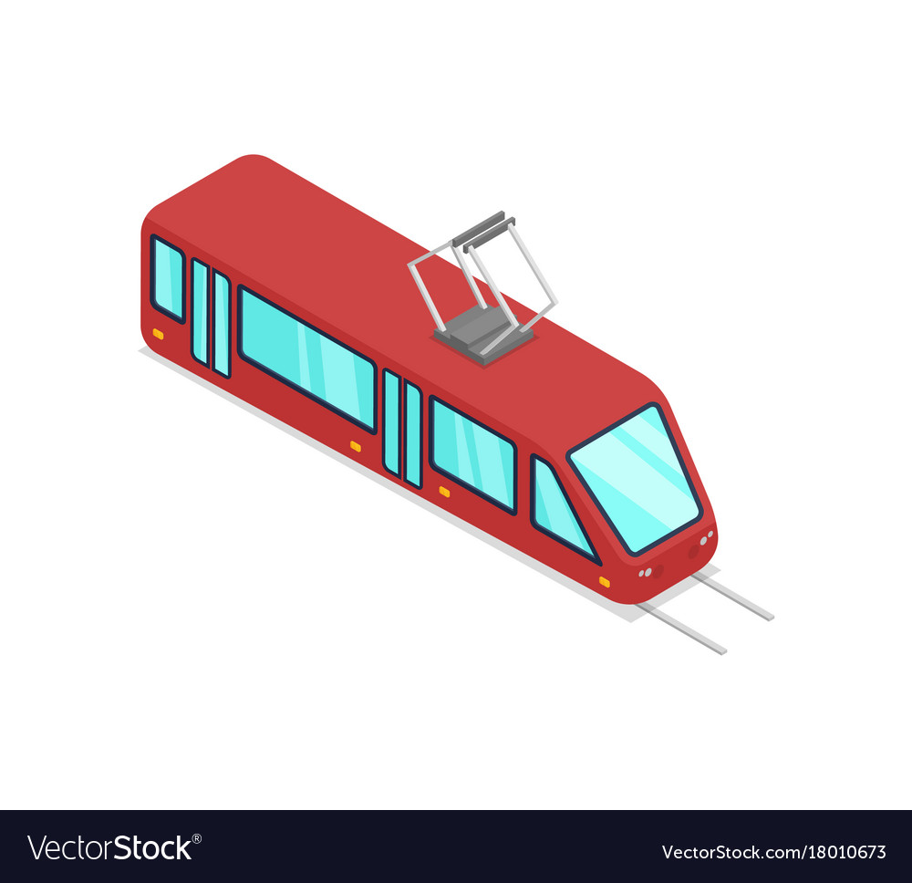 Red streetcar isolated isometric 3d icon