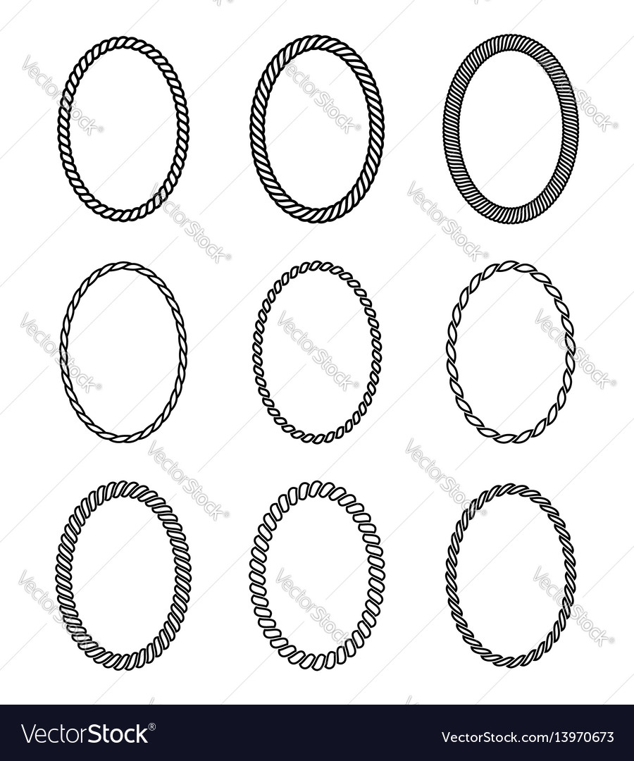 Rope set of oval frames collection of thick and