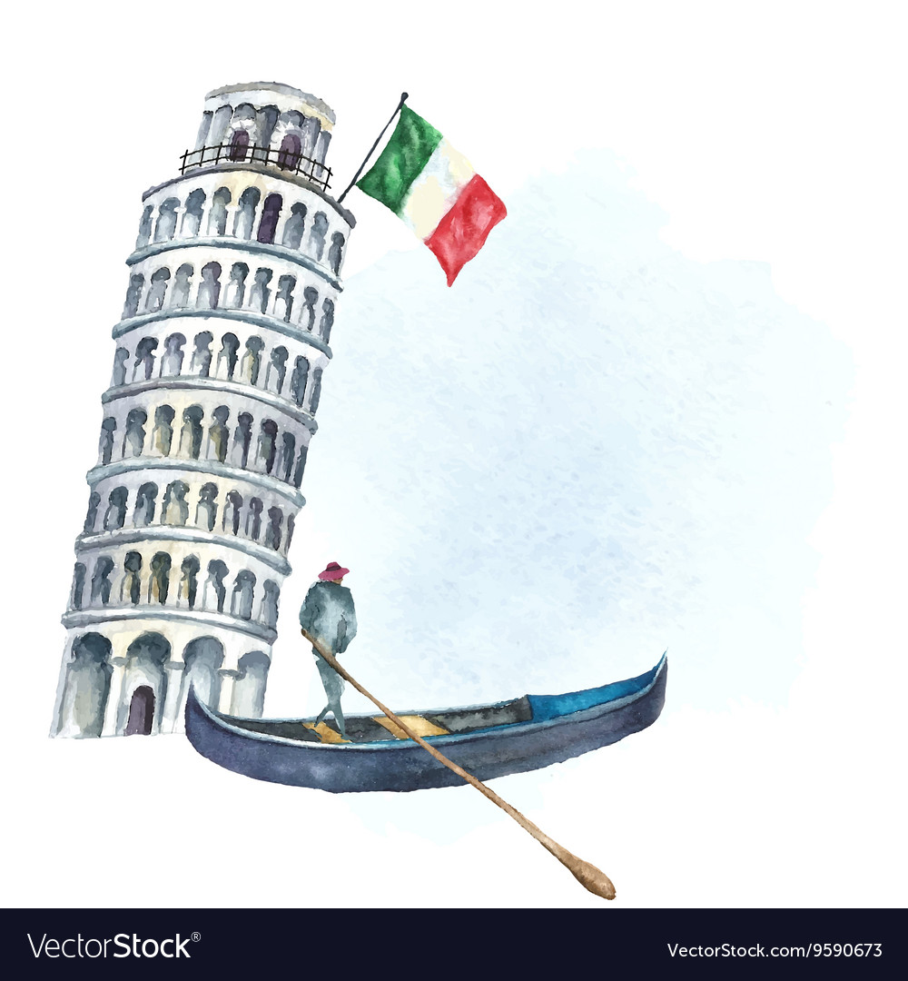 Set of Italy icons watercolor