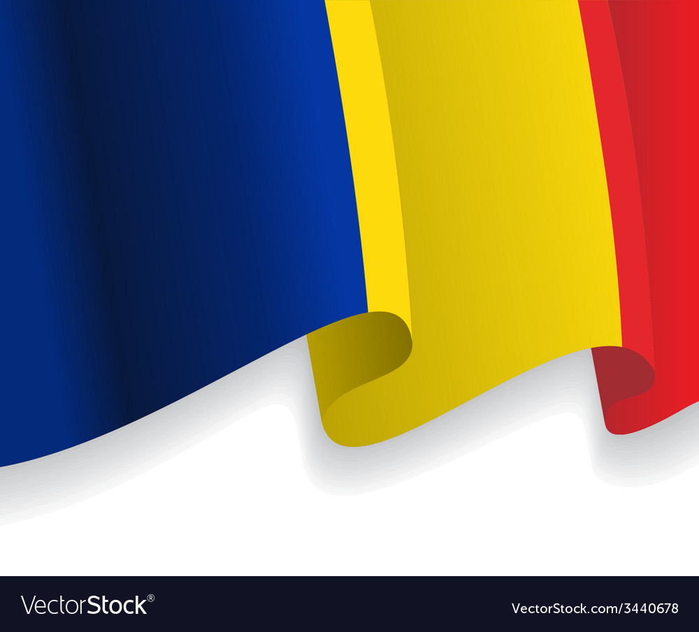 Background with waving Romanian Flag