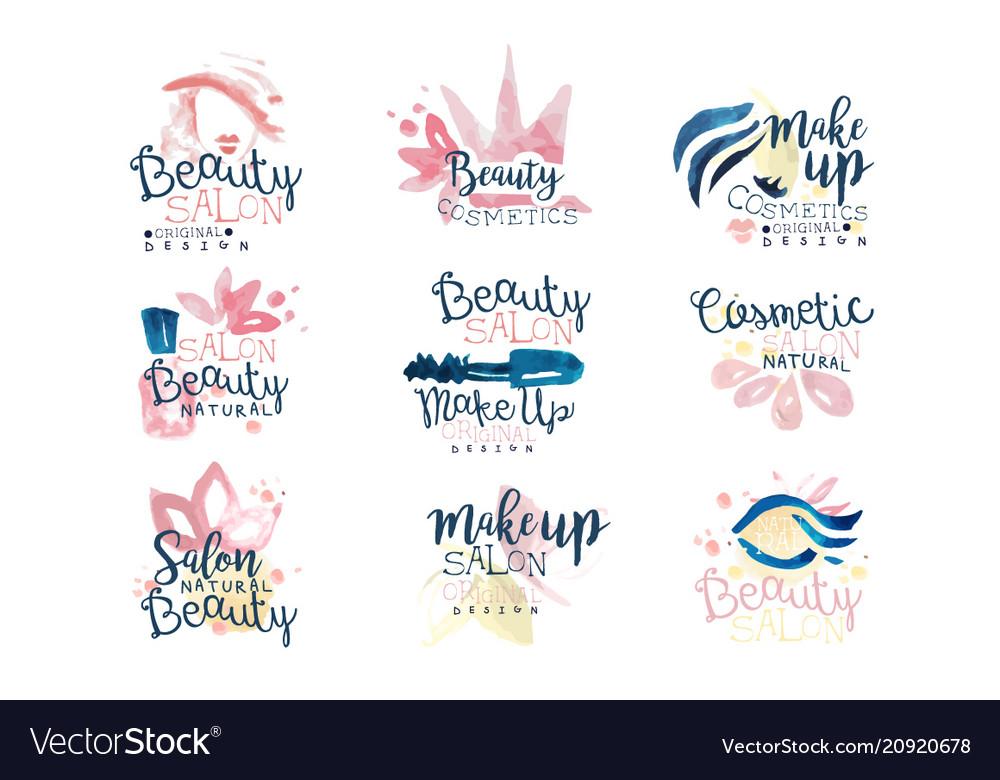 Beauty salon logo design set of colorful hand