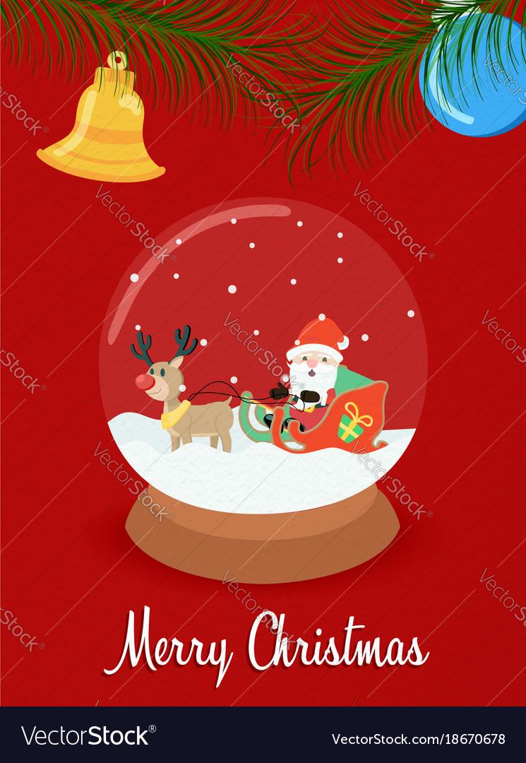 Christmas santa claus snow globe greeting card