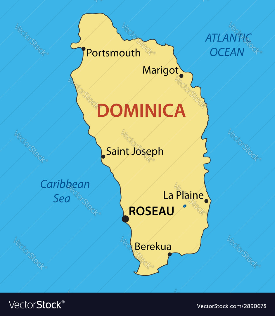 Map Of Dominica Commonwealth of Dominica   map Royalty Free Vector Image