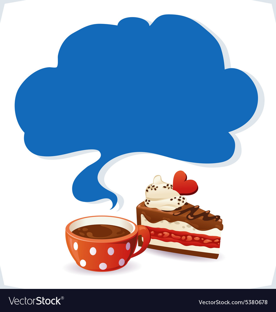 Cup and cake with cloud