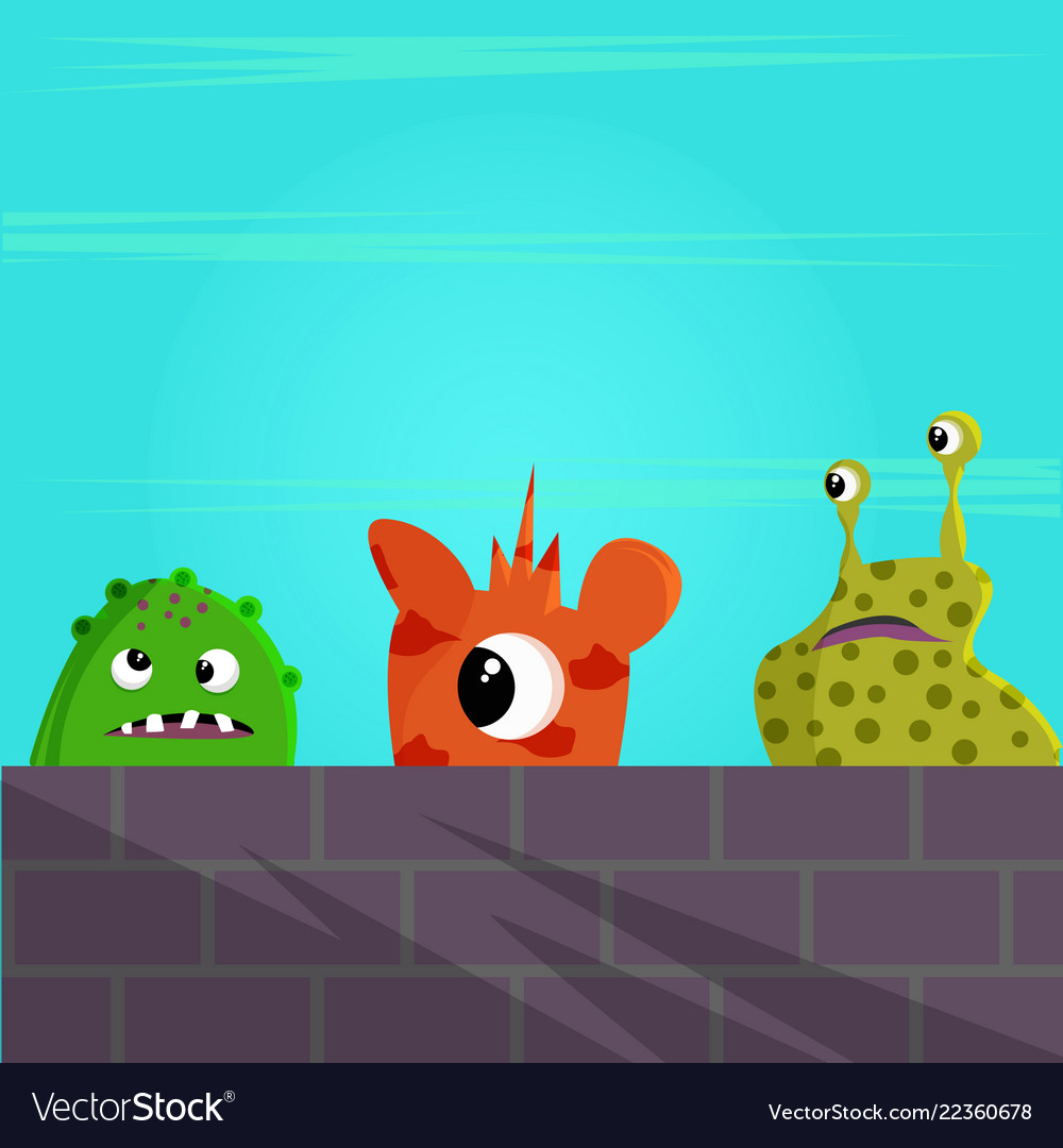 Cute monster behind a brick wall