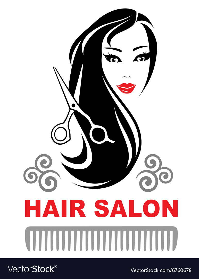 Decorative hair salon icon with pretty girl