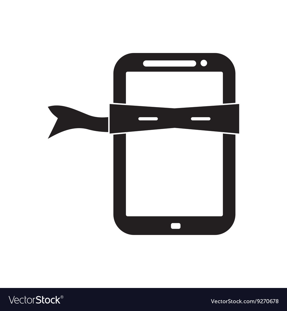 Flat icon in black and white mobile phone Mask vector image