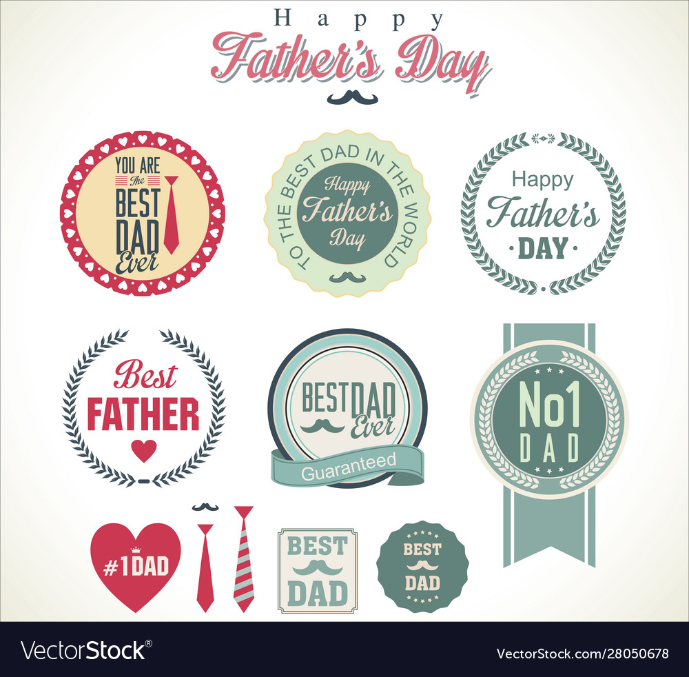 Happy fathers day retro badge and labels