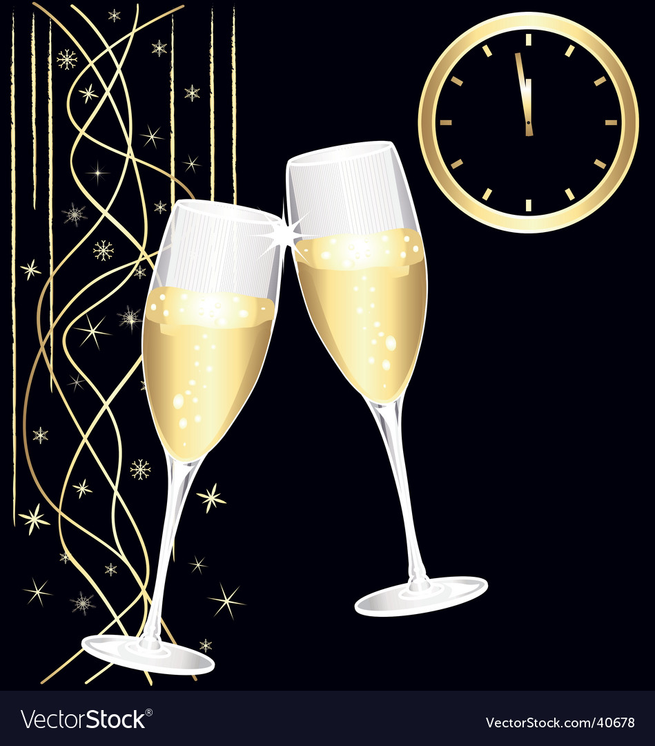 midnight toast of champagne royalty free vector image