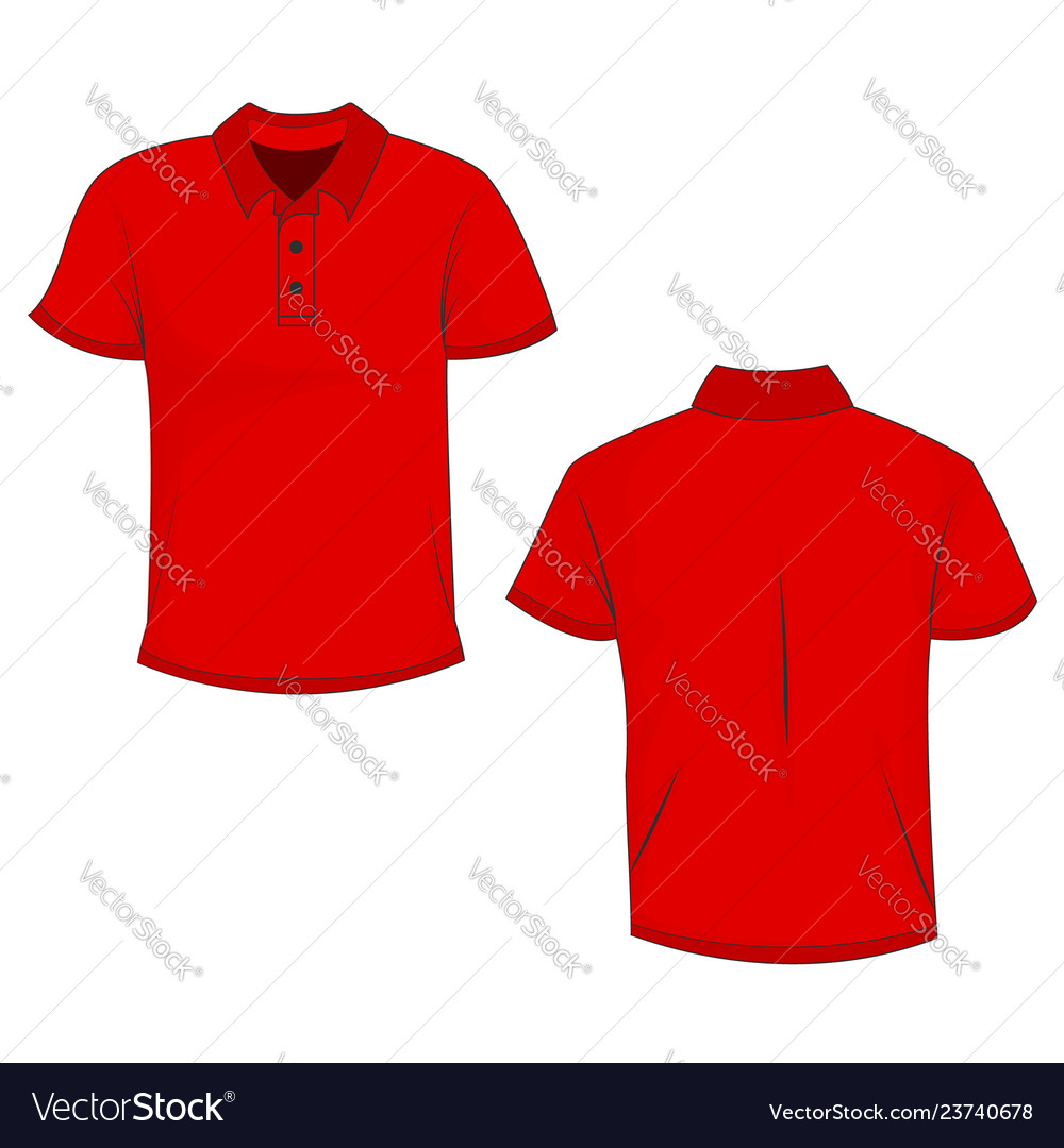 Polo Template | Red Polo Template In Front Side And Back Views