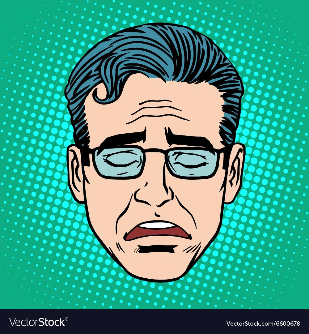 Retro Emoji cry face man vector image