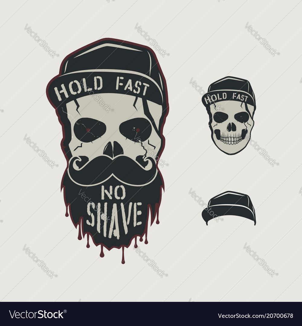 Skull head character vintage hand drawn design