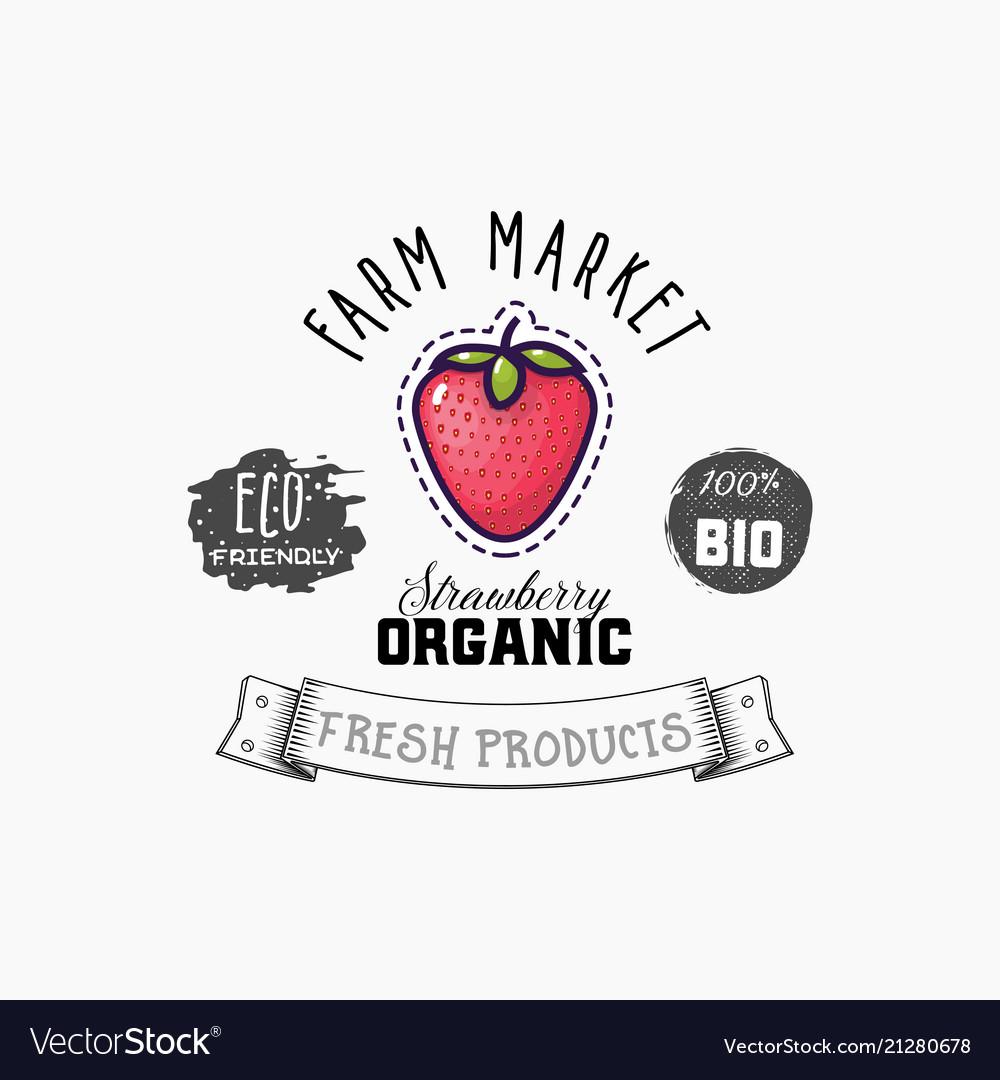 Strawberry bio sticker and eco products