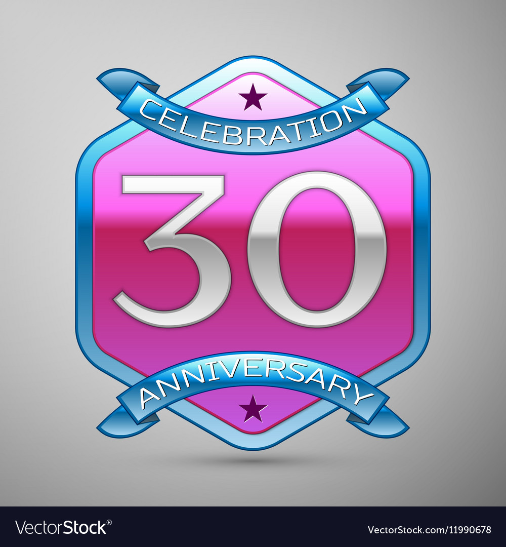 Thirty years anniversary celebration silver logo