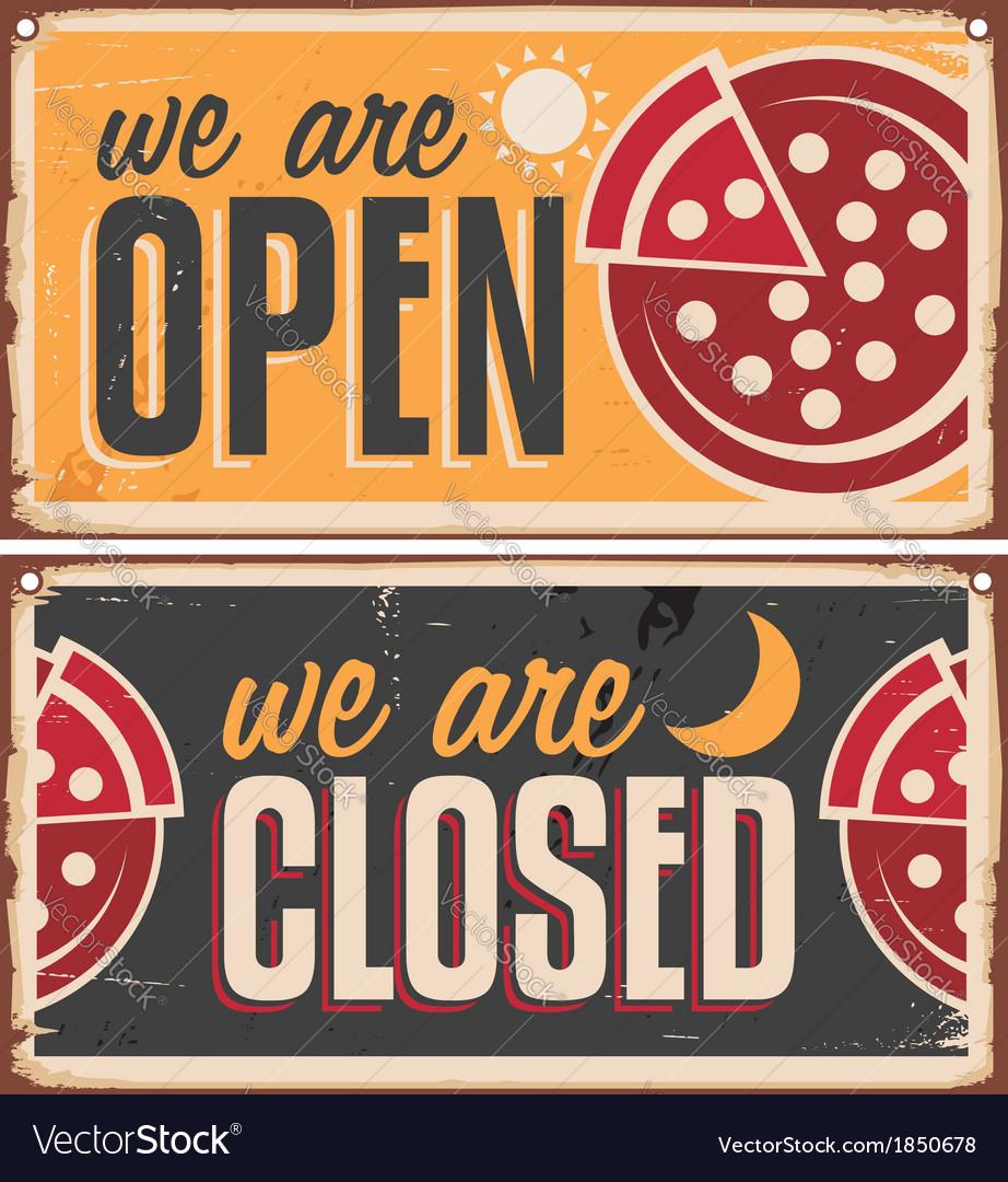 Vintage door signs set for pizzeria vector image