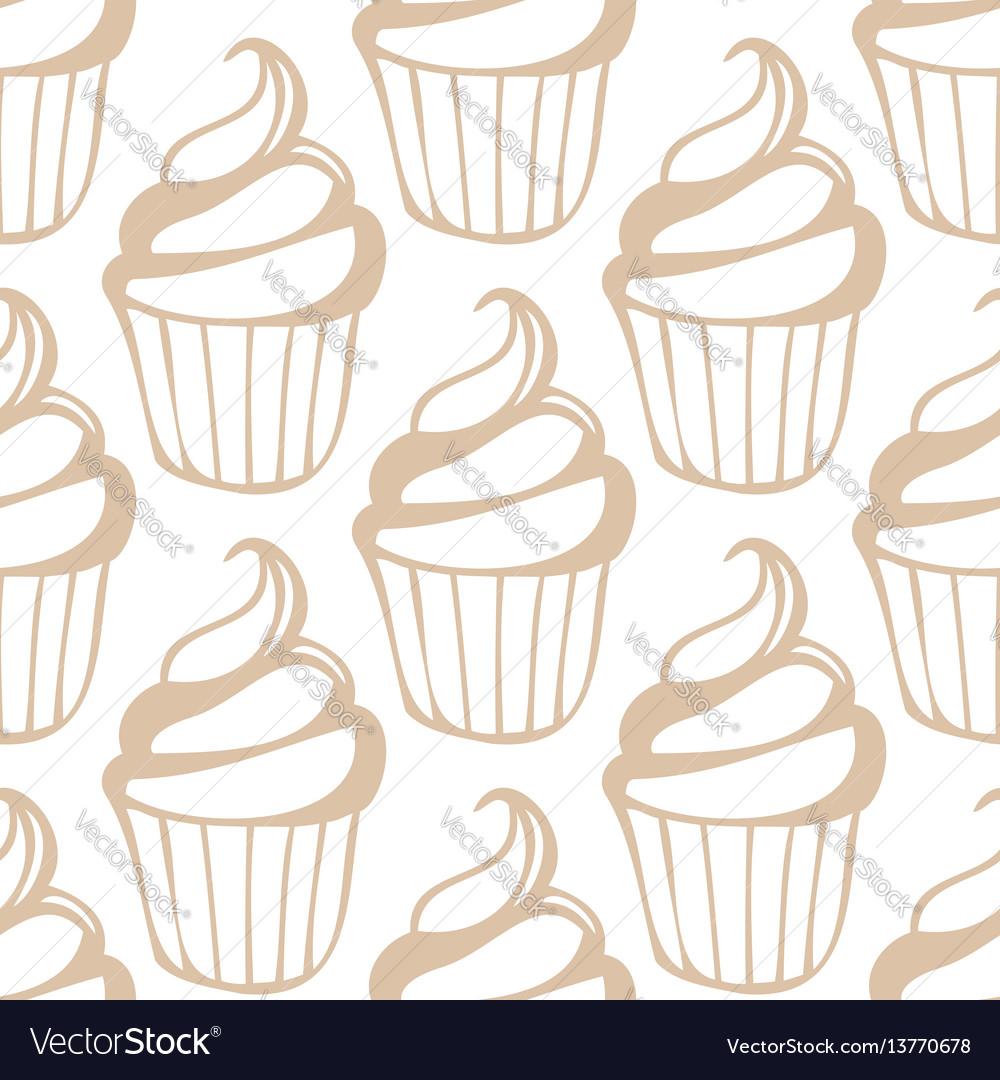 White cream cupcake seamless light beige pattern