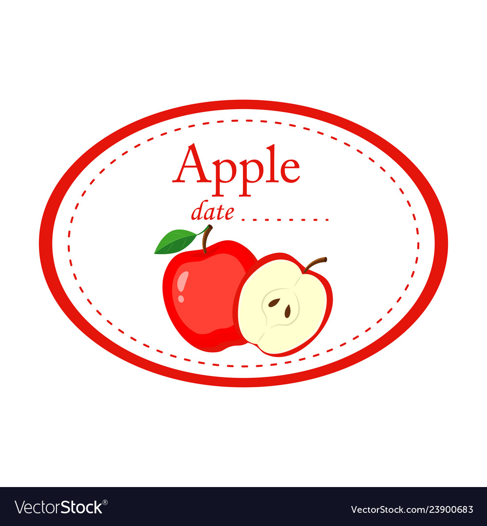 Apple label disign isolated on white
