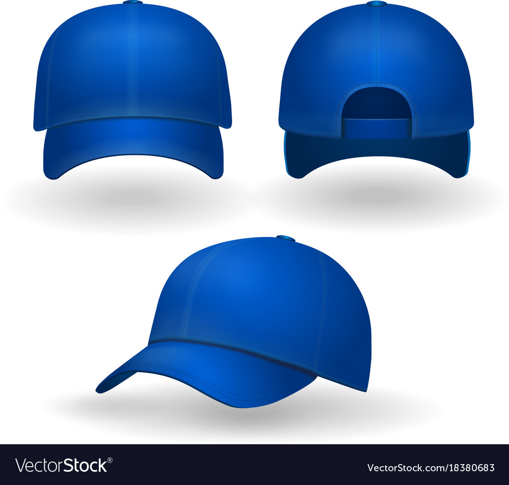 36225a5c15b18 Blue baseball cap set front side view isolated Vector Image