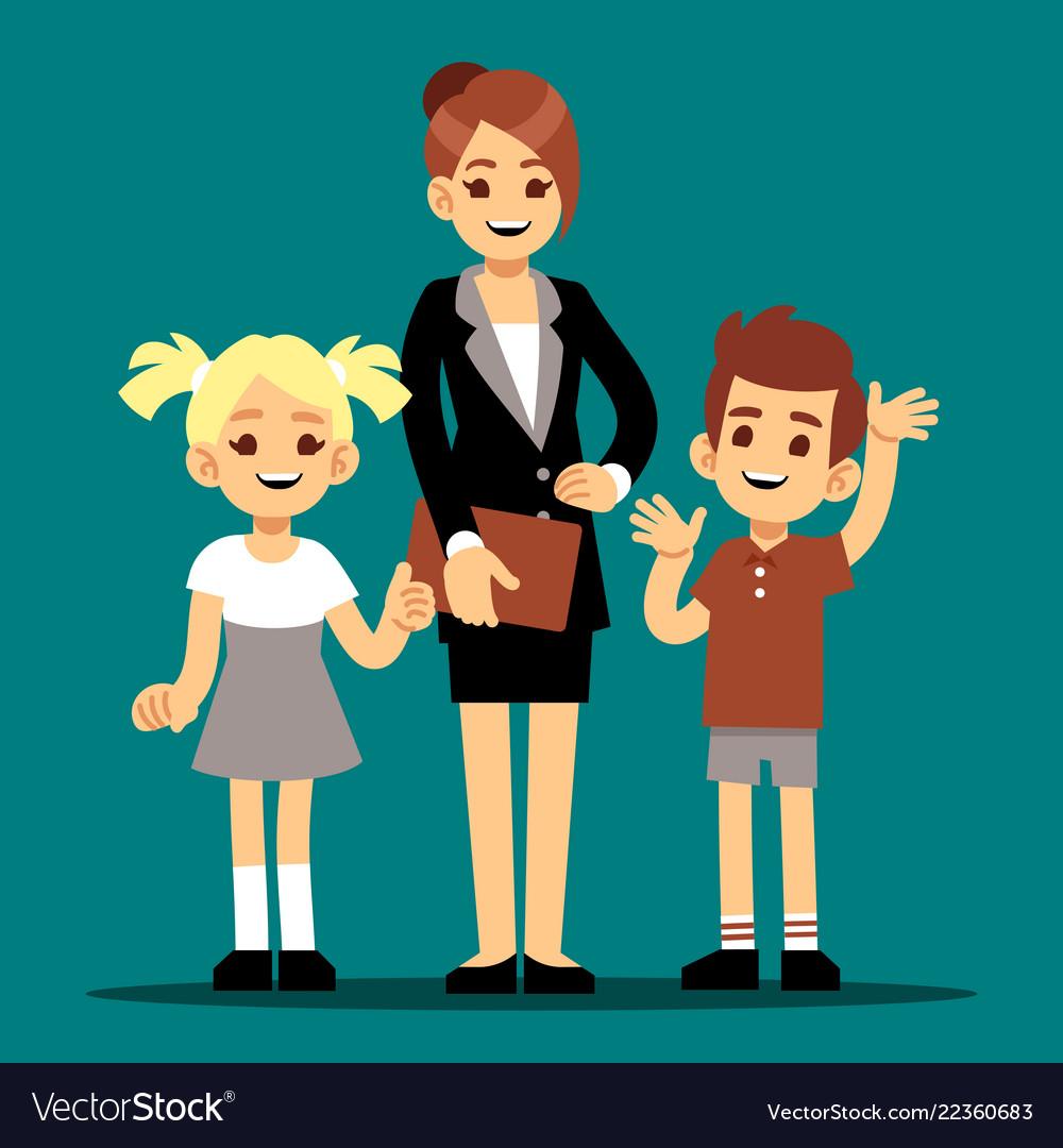 Cartoon boy and girl with their first teacher