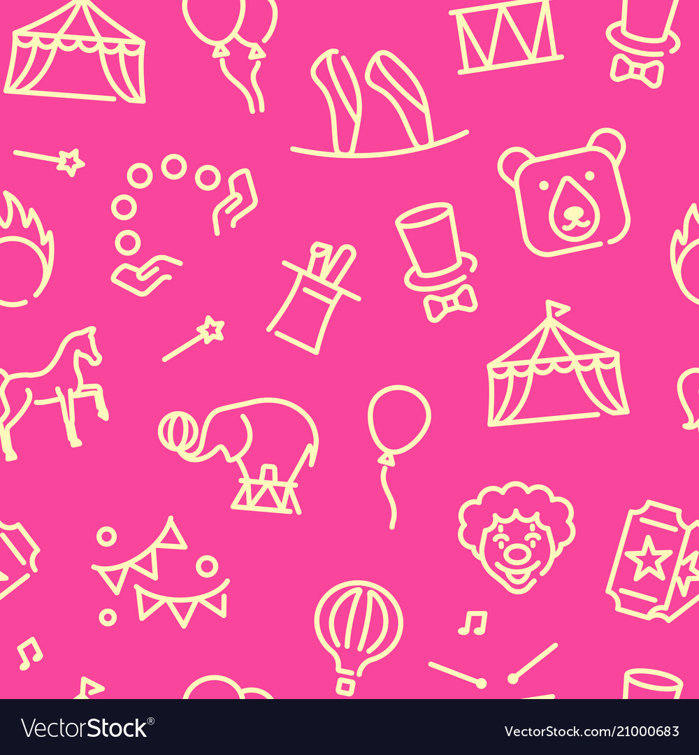 Circus seamless background in linear style