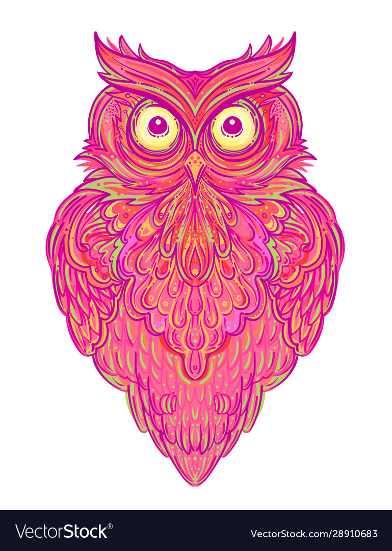Cute abstract owl and psychedelic ornate pattern