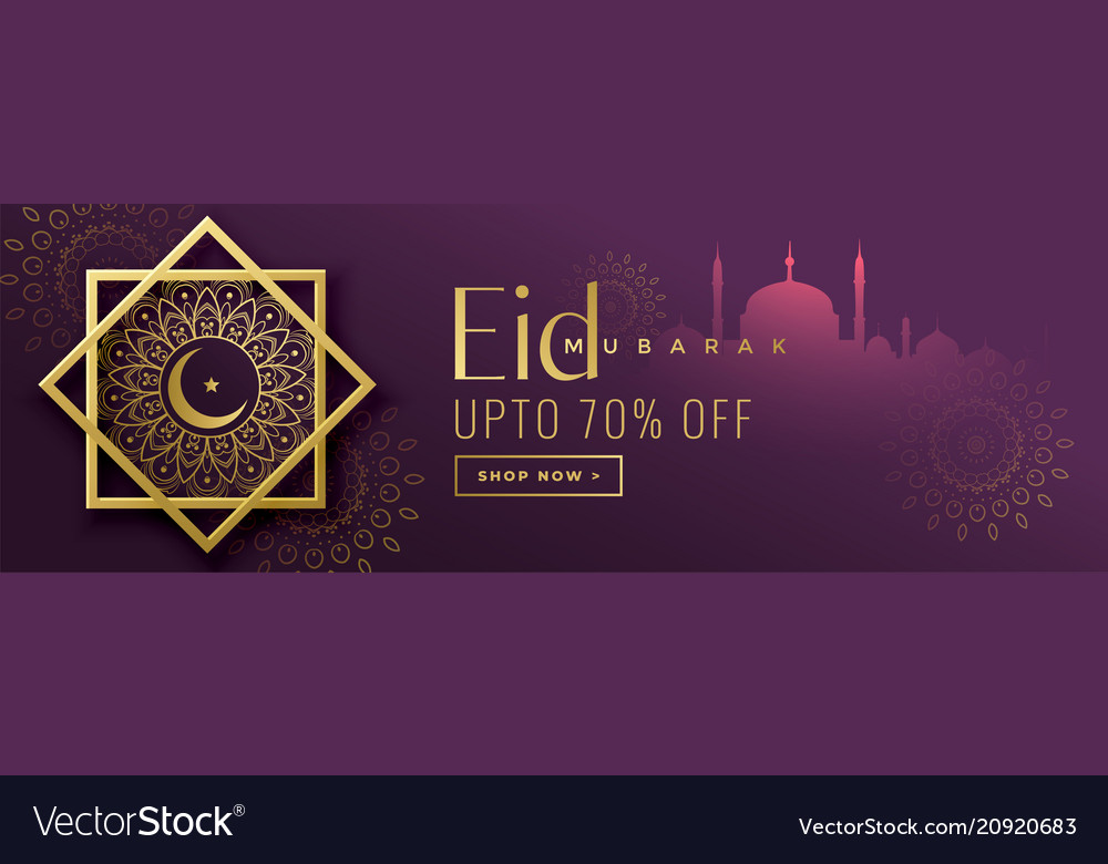 eid mubarak sale banner islamic background vector image vectorstock