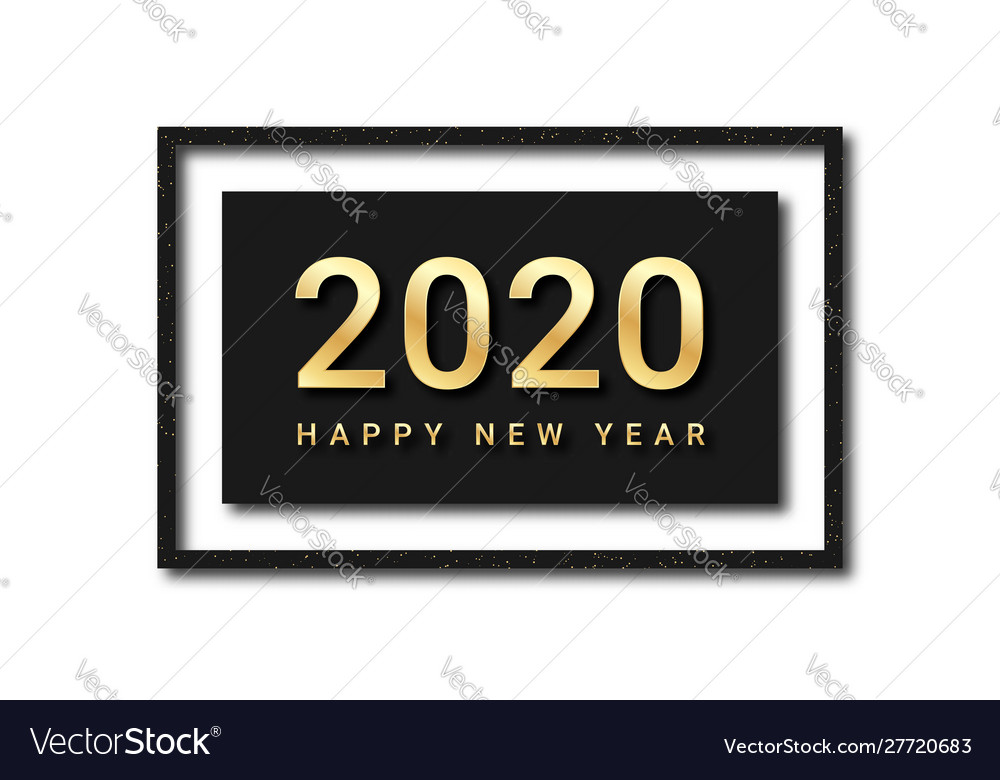 Happy new year 2020 golden text with glitters and