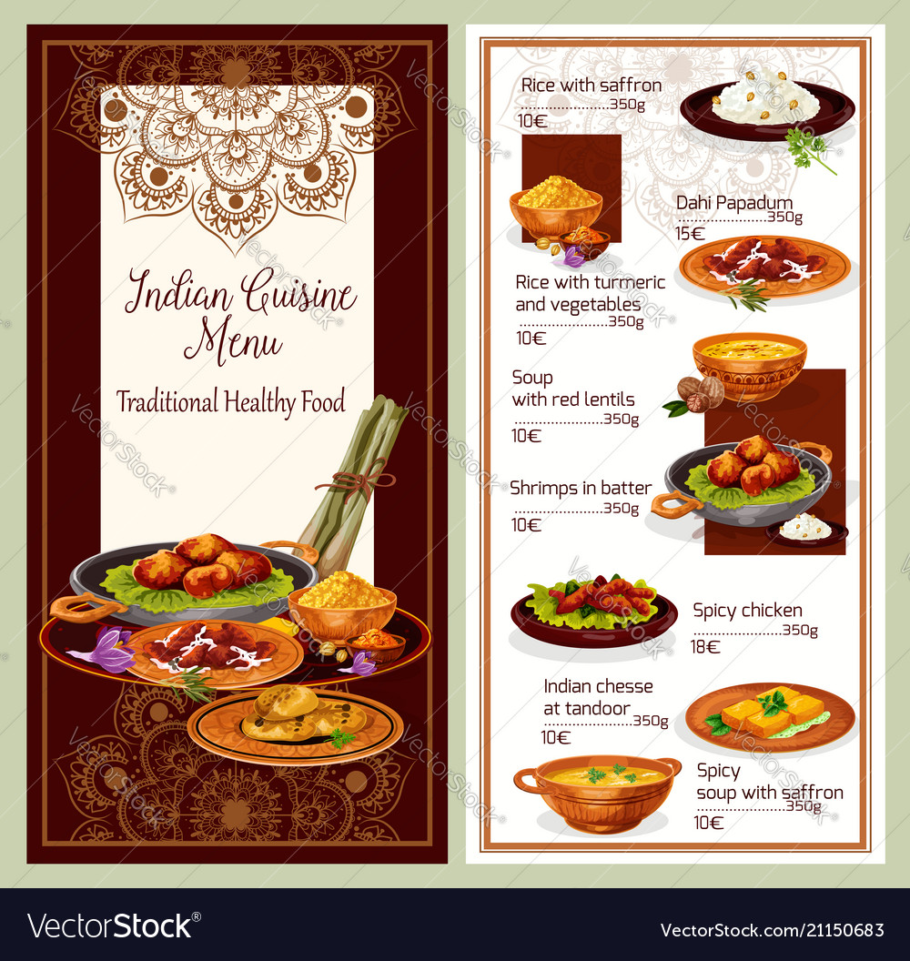 Indian Cuisine Restaurant Menu Template Design Vector Image