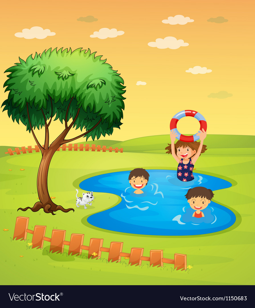 Kids enjoying in the pool vector image