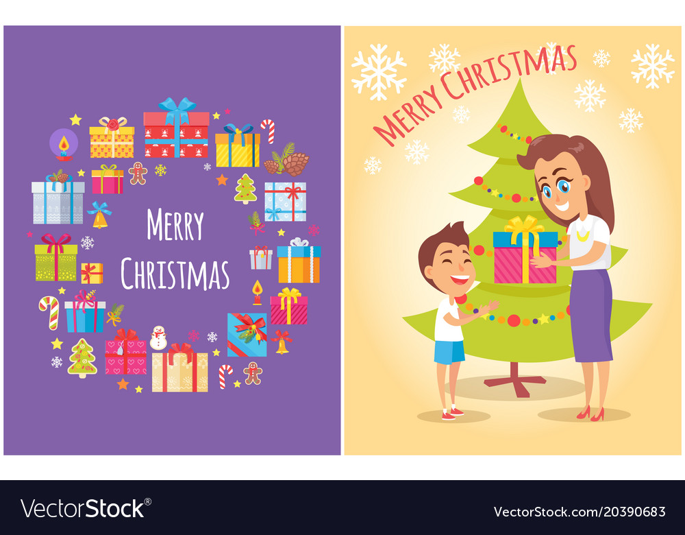 Merry Christmas Poster Boxes Symbols Mother Son Vector Image